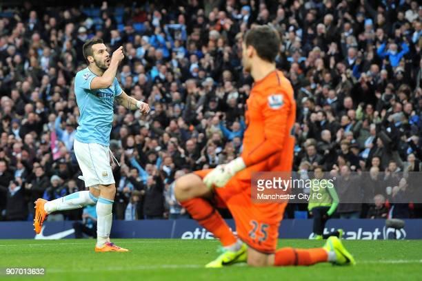 Barclays Premier League Manchester City v Tottenham Hotspur Etihad Stadium Manchester City's Alvaro Negredo celebrates scoring their fifth goal of...