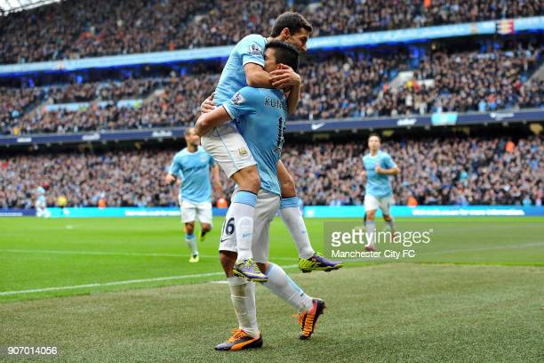 Barclays Premier League Manchester City v Tottenham Hotspur Etihad Stadium Manchester City's Sergio Aguero celebrates scoring their fourth goal of...