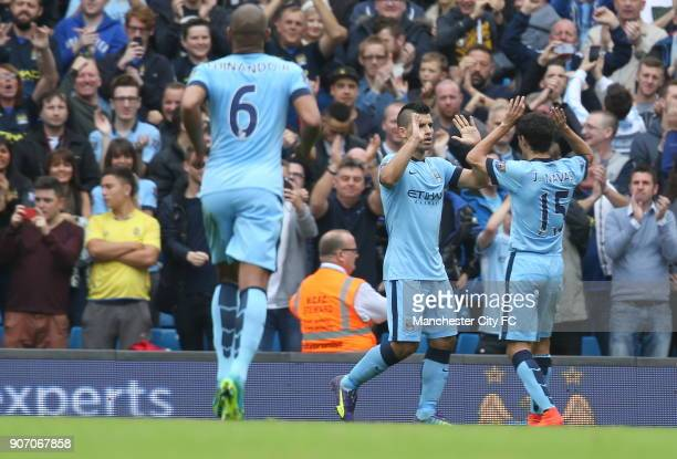 Barclays Premier League Manchester City v Tottenham Hotspur Etihad Stadium Manchester City's Sergio Aguero celebrates with Manchester City's Jesus...
