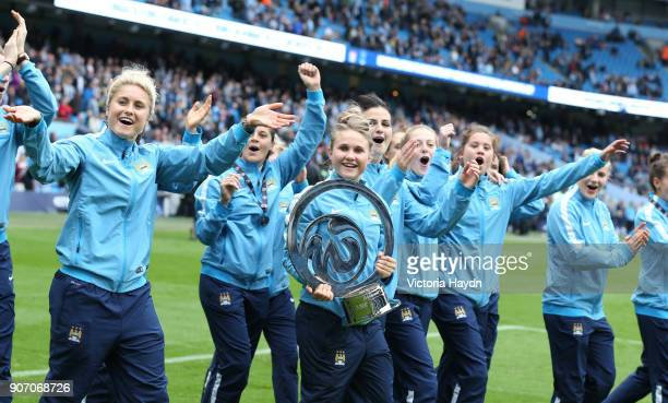 Barclays Premier League Manchester City v Tottenham Hotspur Etihad Stadium Manchester City's women with their trophy doing a lap of honour pre match
