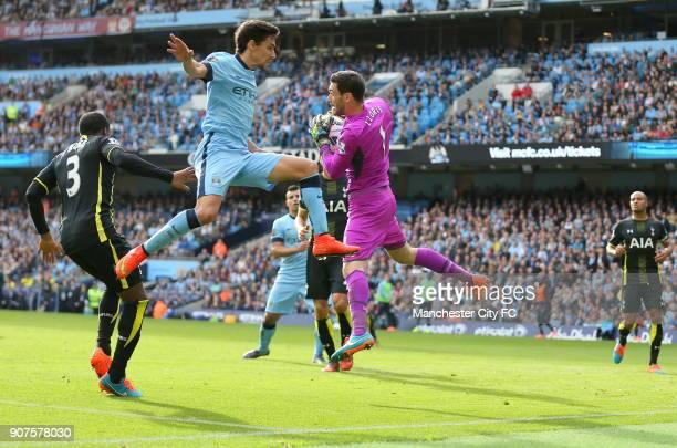 Barclays Premier League Manchester City v Tottenham Hotspur Etihad Stadium Manchester City's Jesus Navas and Tottenham Hotspur's Hugo Lloris