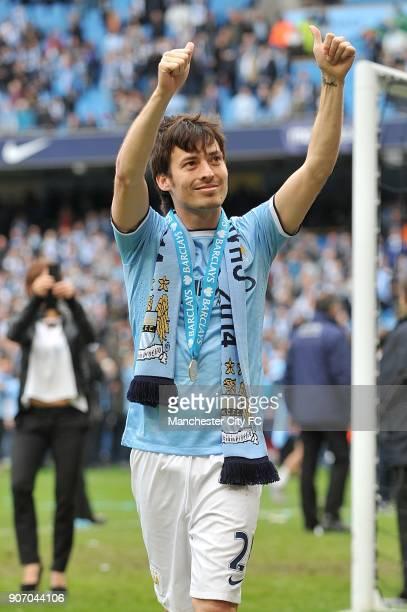 Barclays Premier League, Manchester City v West Ham United, Etihad Stadium, Manchester City's David Silva celebrates winning the Barclays Premier...