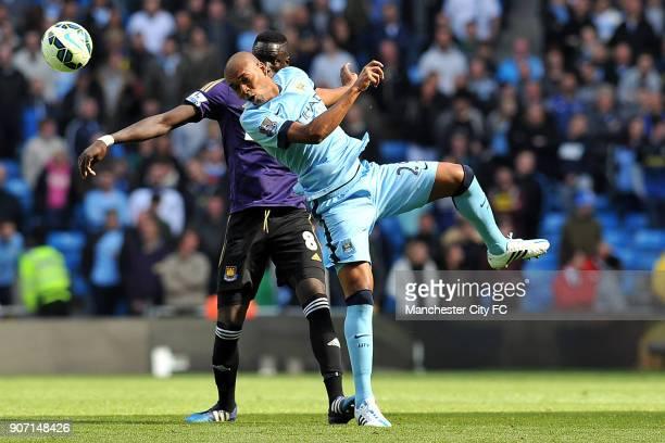 Barclays Premier League Manchester City v West Ham United Etihad Stadium Manchester City's Fernandinho and West Ham United's Cheikhou Kouyate in...