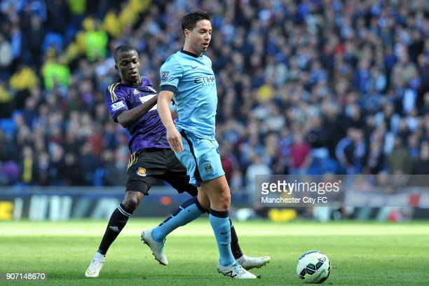 Barclays Premier League Manchester City v West Ham United Etihad Stadium Manchester City's Samir Nasri and West Ham United's Cheikhou Kouyate in...