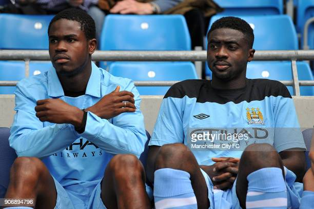 Barclays Premier League Manchester City v Wigan Athletic Etihad Stadium Former ManchesterCity captain Kolo Toure back on first team duty next to...