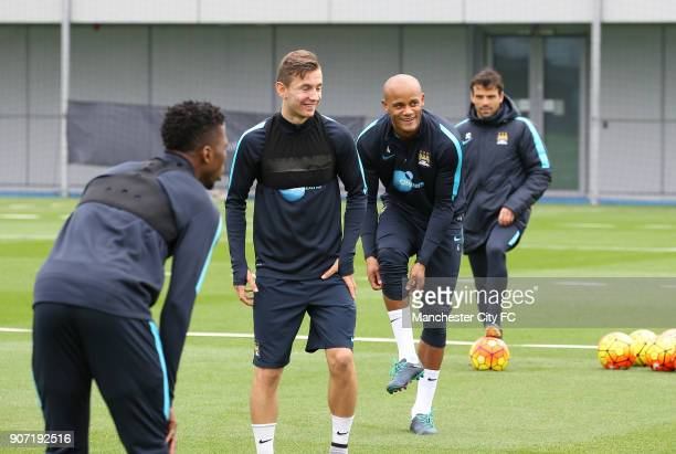 Barclays Premier League Manchester United v Manchester City Manchester City Training City Football Academy Manchester City's Bersant Celina and...