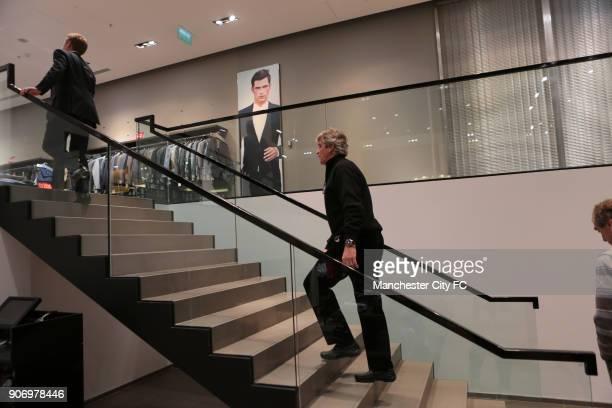 Barclays Premier League Manuel Pellegrini arrives in Manchester Manchester City manager Manuel Pellegrini visits Hugo Boss in Manchester to purchase...