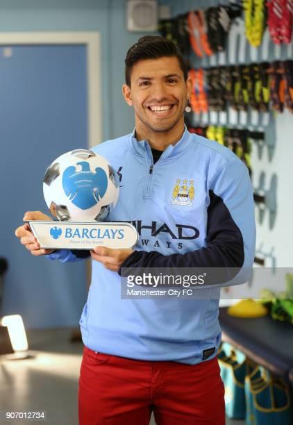 Barclays Premier League Sergio Aguero Player Of The Month Award Carrington Training Ground Sergio Aguero with the trophy for the Barclays Premier...