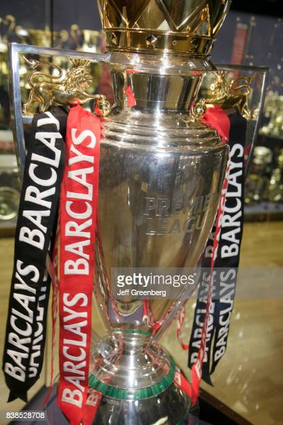 A Barclays Premier League Trophy in the museum at Manchester United Football Club at the Old Trafford Stadium