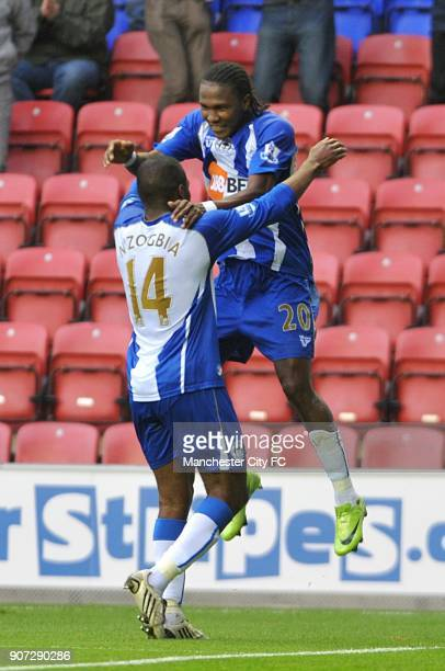 Barclays Premier League Wigan Athletic v Manchester City DW Stadium Wigan Athletic's Charles N'Zogbia celebrates scoring his sides first goal of the...