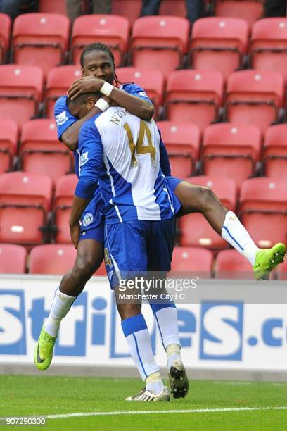Barclays Premier League Wigan Athletic v Manchester City DW Stadium Wigan Athletic's Charles N'Zogbia celebrates scoring his sides first goal with...