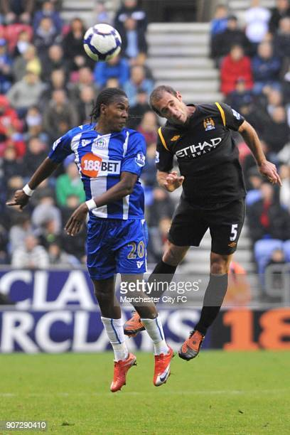 Barclays Premier League Wigan Athletic v Manchester City DW Stadium Wigan Athletic's Hugo Rodallega and Manchester City's Pablo Zabaleta battle for...