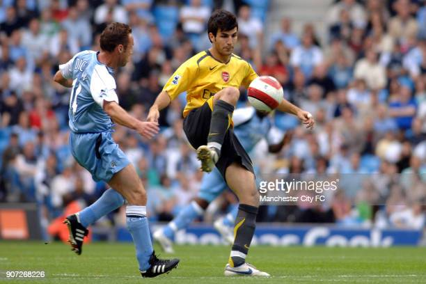 FA Barclays Premiership Manchester City v Arsenal City Of Manchester Stadium Arsenal's Francesc Fabregas wins the ball ahead of Manchester City's...