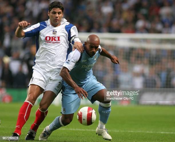 Barclays Premiership, Manchester City v Portsmouth, City Of Manchester Stadium, Dejan Stefanovic, Portsmouth and Trevor Sinclair, Manchester City...