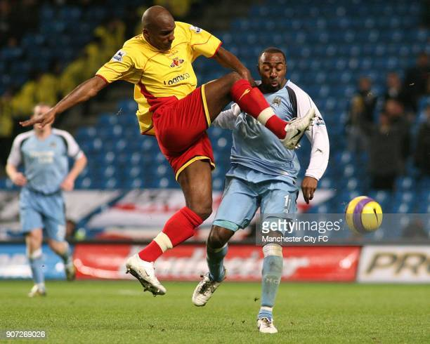 Barclays Premiership, Manchester City v Watford, The City of Manchester Stadium, Watford's Damien Francis and Manchester City's Darius Vassell