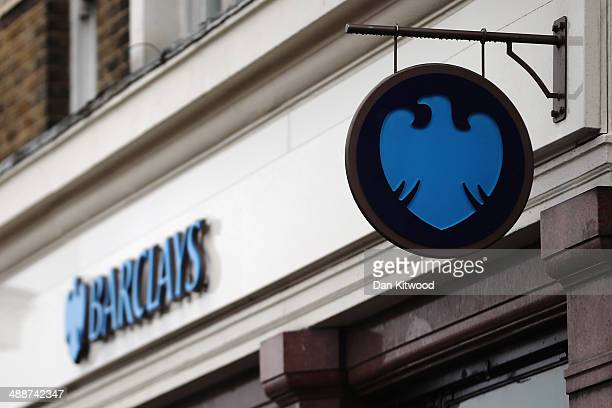 Barclays sign outside a Barclays Plc bank branch on May 8, 2014 in London, England. Barclays announced yesterday that they will cut 14,000 jobs this...