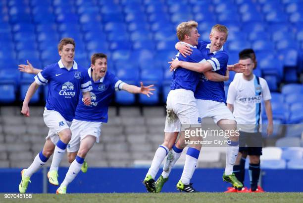 Barclays U18 Premier League Final Manchester City v Everton Goodison Park Everton's Harry Charsley celebrates scoring his sides first goal of the...