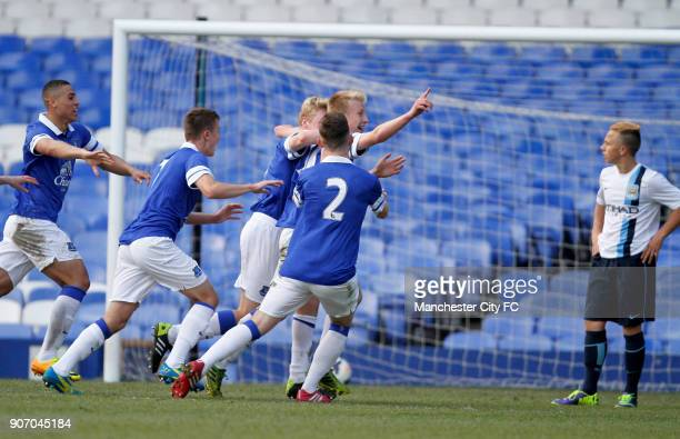 Barclays U18 Premier League Final Manchester City v Everton Goodison Park Everton's Harry Charsley celebrates scoring his sides first goal of the game