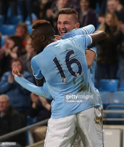 Barclays U21 Premier League Cup Final First Leg Manchester City v Reading Etihad Stadium Manchester City's Sinan Bytyqi celebrating Devante Cole's...