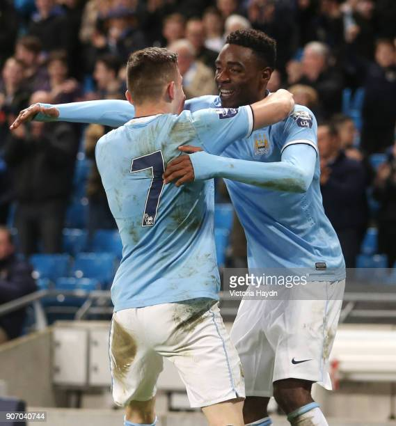 Barclays U21 Premier League Cup Final First Leg Manchester City v Reading Etihad Stadium Manchester City's Devante Cole and Sinan Bytyqi celebrating...