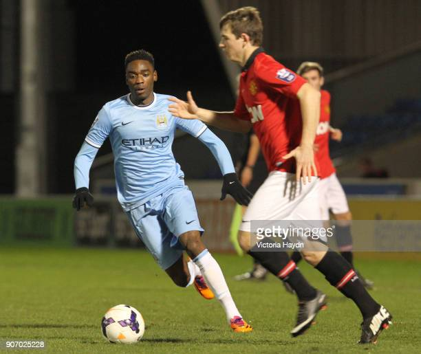 Barclays U21 Premier League Manchester City U21 v Manchester United U21 Salford City Stadium Manchester City's Devante Cole in action