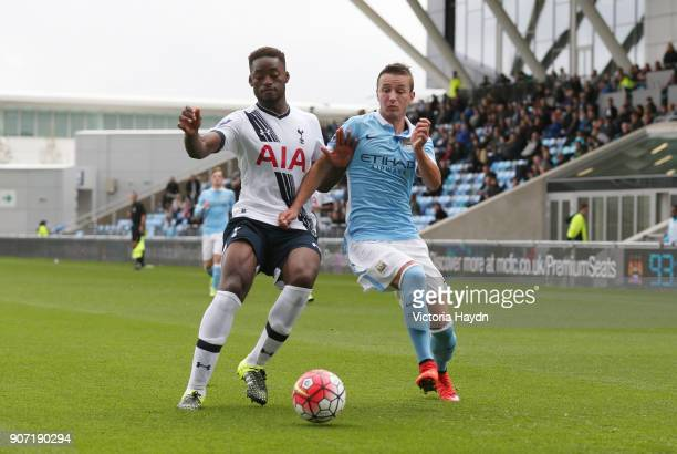 Barclays U21 Premier League Manchester City v Tottenham Hotspur City Football Academy Manchester City's Bersant Celina fighting for the ball