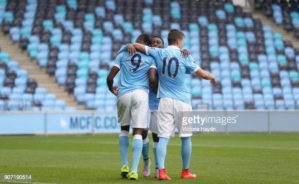Barclays U21 Premier League Manchester City v Tottenham Hotspur City Football Academy Manchester City's Thierry Ambrose celebrates his goal with...