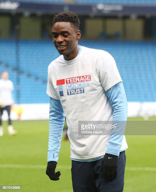 Barclays Under21 Premier League PlayOffs SemiFinal Manchester City v Chelsea Etihad Stadium Manchester City's Devante Cole wearing a Teenage Cancer...