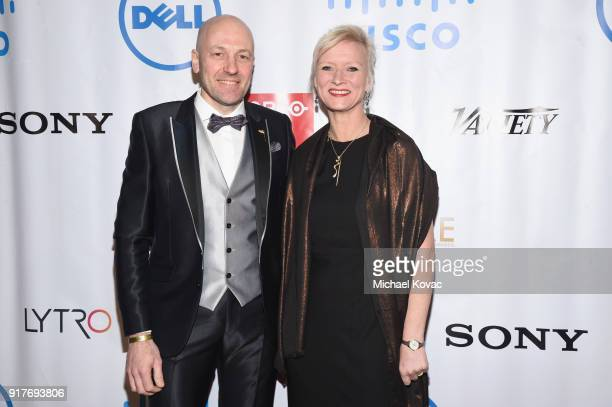 Barco Senior Vice President of Entertainment Wim Buyens and An Buyens attend the Advanced Imaging Society 2018 Lumiere Awards presented by Dell and...