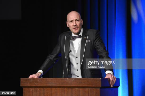 Barco Senior Vice President of Entertainment Wim Buyens presents onstage at the Advanced Imaging Society 2018 Lumiere Awards presented by Dell and...