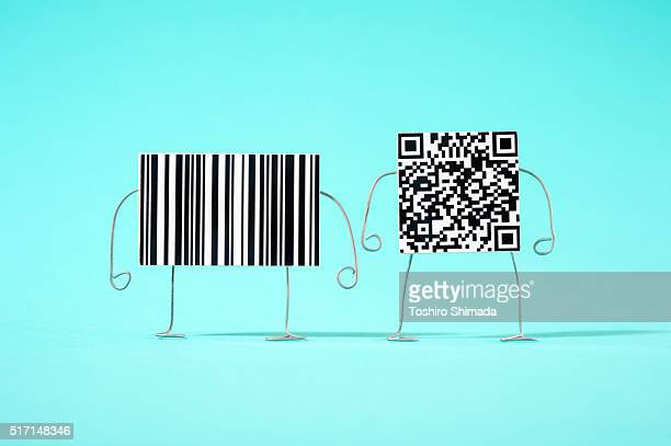 A barcode and a qr code with arms and legs