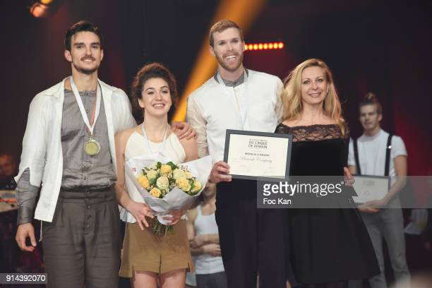 Barcode Company artists receive their prize from Nathalie Dessay during 39th Festival Mondial Du Cirque de Demain Awards Ceremony At Cirque Phenix on...
