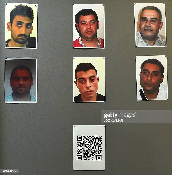 A barcode link is displayed under the pictures of suspected human traffickers arrested over the death of 71 refugees found in an abandoned...