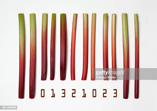 barcode made with rhubarb sticks - rhubarb stock photos and pictures