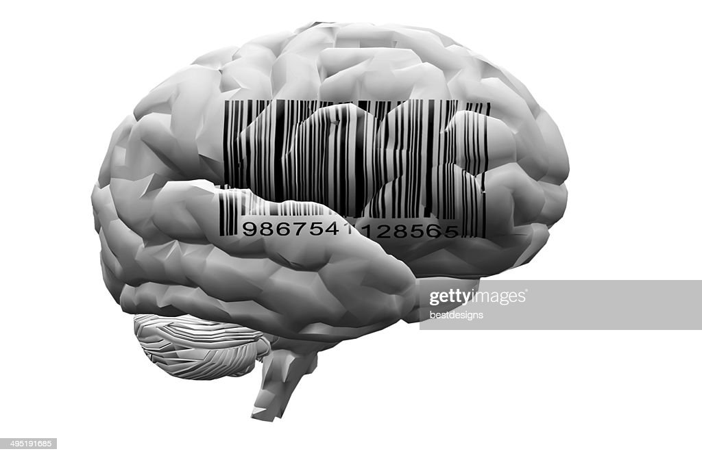 Barcode on brain : Stock Photo