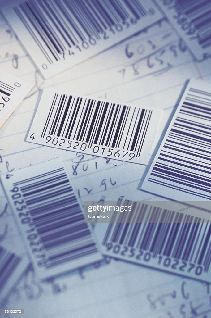 Barcodes and math notes for inventory : Stockfoto