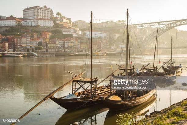 Barcos rabelos on the Douro river in Oporto, Portugal