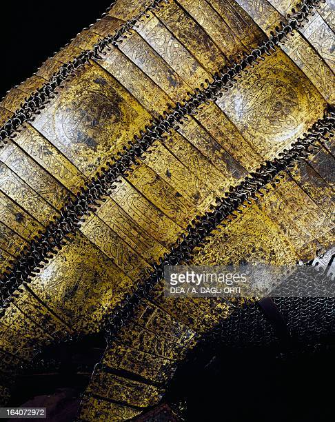 Bard bearing the 99 names of Allah in Arabic inscription detail from armour in steel gold silver chain mail leather and fabric Mamluk and Ottoman...