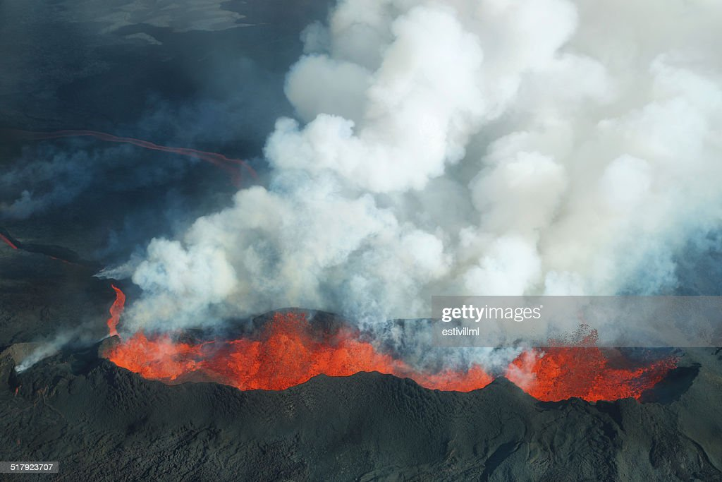 Bardarbunga volcano eruption in Iceland : Stock Photo