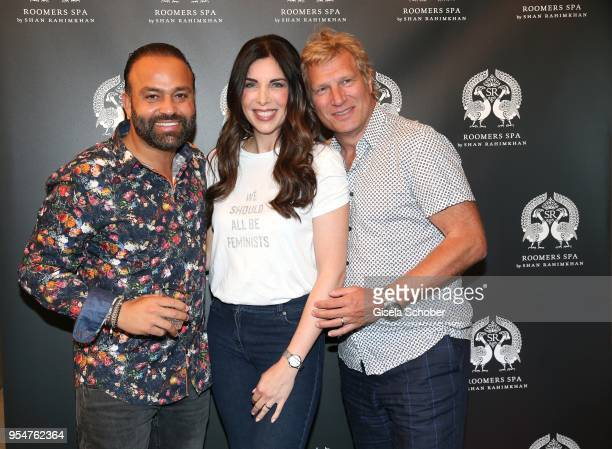 Bardia Torabi, General Manager Roomers Munich, Alexandra Polzin and her husband Gerhard Leinauer during the Grand Opening of Roomers Spa by Shan...