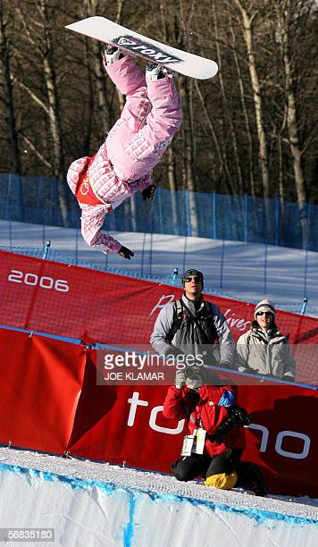 Japan's Melo Imai competes during the second run of the Ladies' snowboard Halfpipe qualifying on the third day of the Turin 2006 Winter Olympics 13...