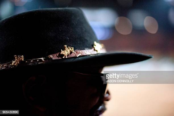 Bare back rider Billy Ray Thunder of the Huron Erie and Choctaw Erie Nations watches the MLK Jr African American Heritage Rodeo at the National...