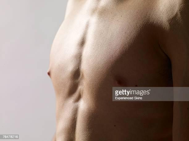 bare chest of a man - ragazzi fighi nudi foto e immagini stock