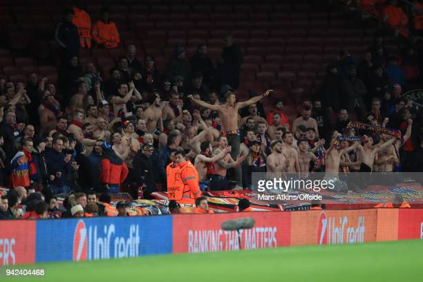Bare chested CSKA fans during the UEFA Europa League quarter final leg one match between Arsenal FC and CSKA Moskva at Emirates Stadium on April 5...