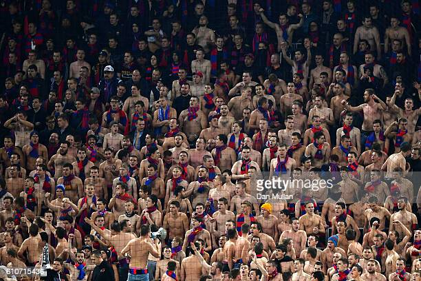 Bare chested CSKA fans show their support during the UEFA Champions League Group E match between PFC CSKA Moskva and Tottenham Hotspur FC at Stadion...