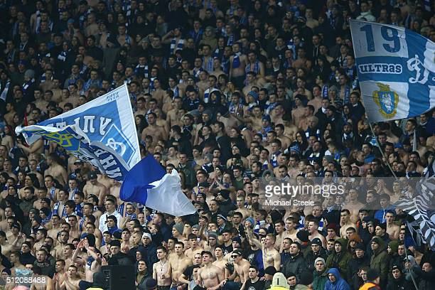 Bare chested Dynamo Kiev fans brave the elements during the UEFA Champions League round of 16 match between Dynamo Kiev and Manchester City at the...