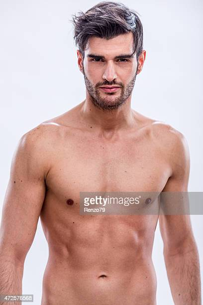 bare chested male model with dark hair, mustache and goatee - shirtless stock pictures, royalty-free photos & images