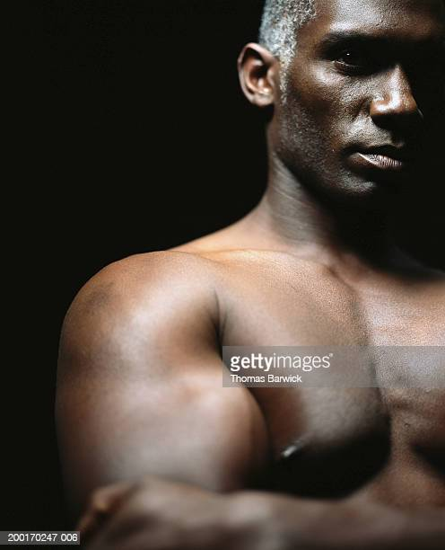 bare chested man, portrait, close-up - barechested bare chested ストックフォトと画像