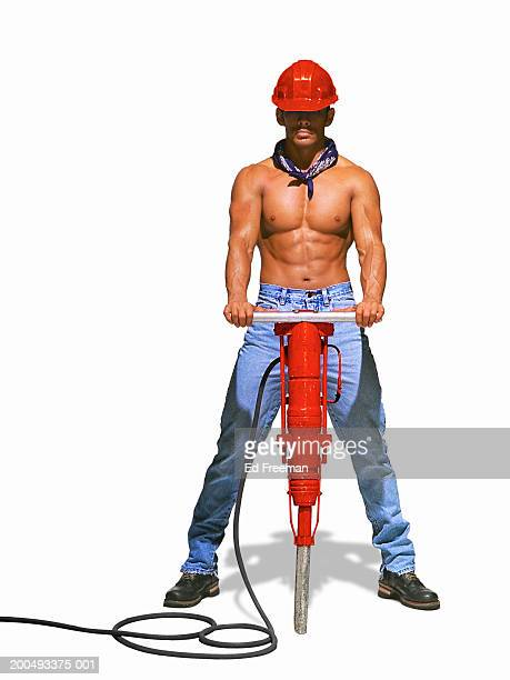 Bare chested man with jackhammer (Digital Enhanvcement)