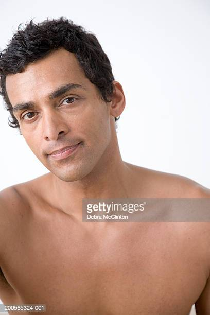 bare chested mature man, portrait, close-up - chest barechested bare chested foto e immagini stock